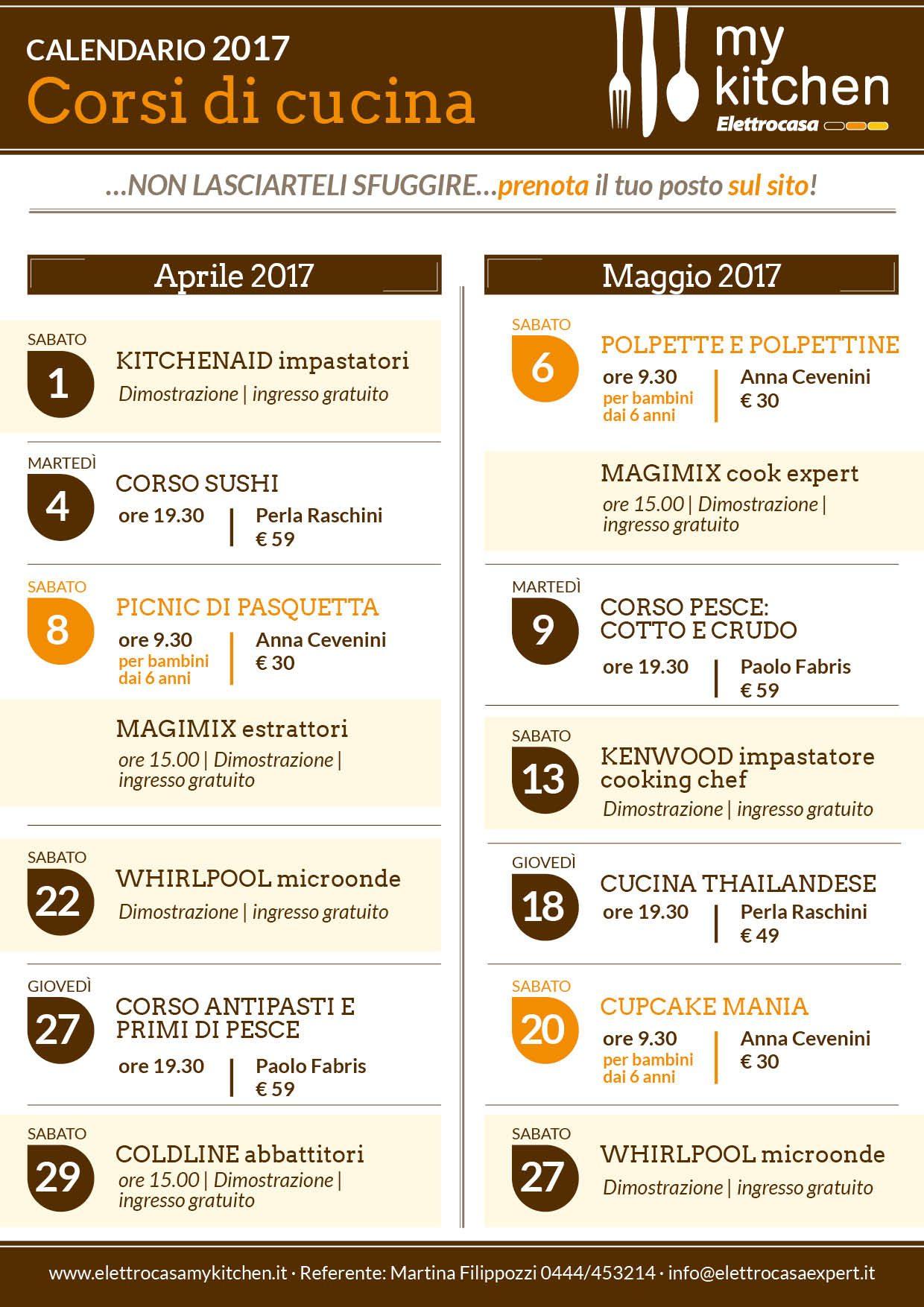 nuovo calendario corsi di cucina aprile e maggio 2017